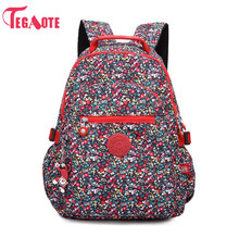 TEGAOTE School Backpack for Teenage Girls Nylon Casual Schoolbag Women Backpack Solid Famous Laptop Bagpack Female Rucksack 983(China)