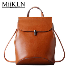 MiiKLN Genuine Leather Backpack For Women Solid High Quality Cow Leather Women Backpack Travel Shopping School Girl Bag Zipper