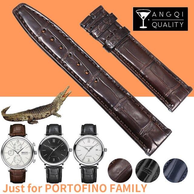 9c4e2d673 20mm Genuine Leather Crocodile Watchbands for IWC Portofino Family Alligator  Skin Watch Bracelets Band Strap Bamboo Pattern Soft
