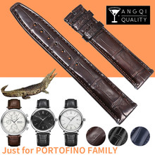 20mm עור אמיתי תנין Watchbands לiwc Portofino משפחתי תנין עור שעונים צמידי Band רצועת במבוק דפוס רך