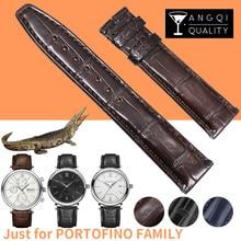 Pulseiras de relógio de couro legítimo 20mm, pulseiras de crocodilo para família iwc portofino, pulseiras de relógio de pele de jacaré, padrão de bambu macio