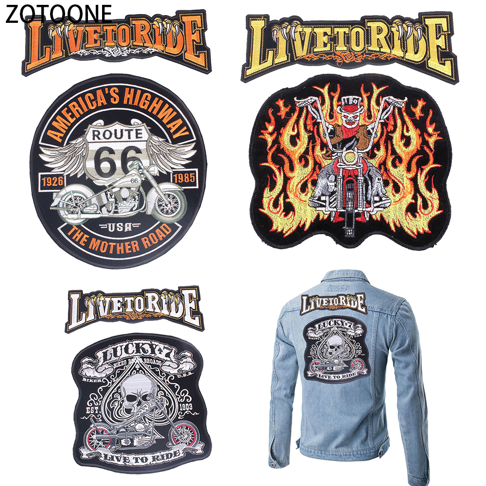 ZOTOONE Live To Ride Back Patch Sew on Garment Appliques Diy Iron Applications Clothing Punk Skull Badges for Jacket