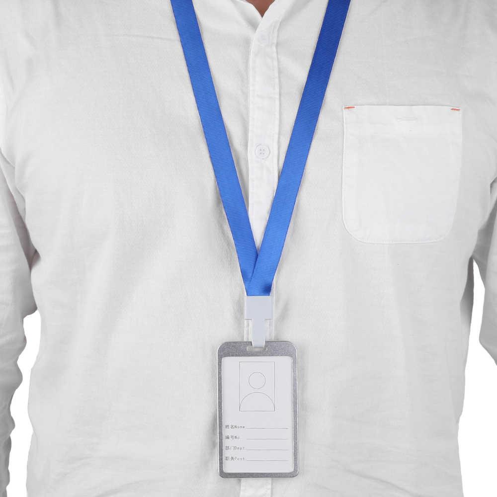 1PC อลูมิเนียมแนวตั้ง Alloy Work ชื่อผู้ถือบัตรธุรกิจ ID Badge Lanyard ผู้ถืออุปกรณ์สำนักงาน