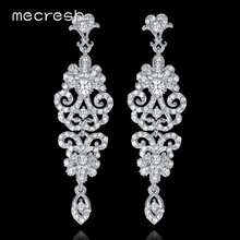 8b694be8c8ce Mecresh de lujo coreano boda pendientes para las mujeres de diamantes de  imitación de cristal de novia largo pendientes 2018 fie.