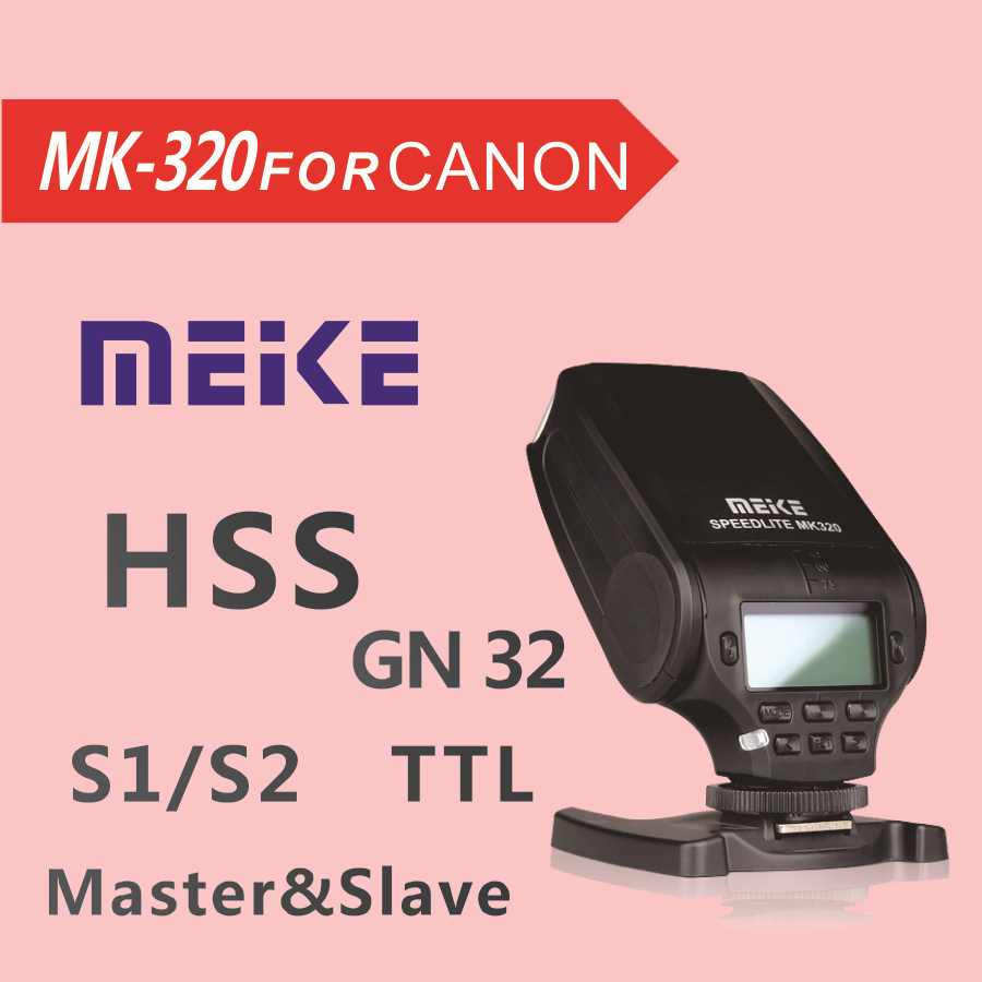 New Mini Flash Speedlite MEIKE MK320 TTL flash for Canon EOS Hot Shoe DSLR Camera 60D 7D 600D 5D3 genuine meike mk950 flash speedlite speedlight w 2 0 lcd display for canon dslr 4xaa
