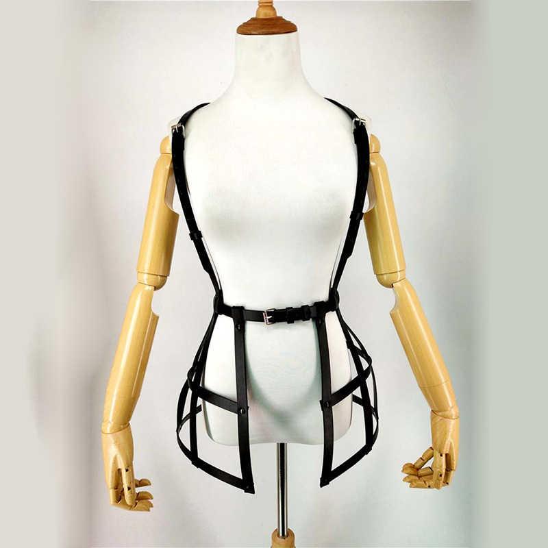Sexy Nịt Tất, Phụ Nữ PU Leather Harness Váy Đen Dây Thắt Lưng Có Thể Điều Chỉnh Punk Cơ Thể Bondage Vành Đai Thắt Lưng Lồng Váy Tôn Sùng Treo