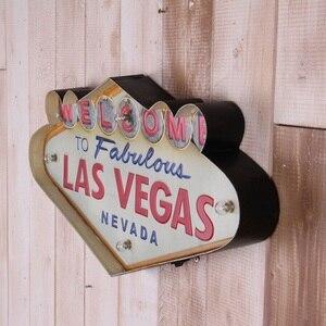 Image 5 - Las Vegas Hoan Nghênh Bạn Đã Neon Ký Cho Thanh Vintage Trang Trí Nhà Tranh Chiếu Sáng Treo Kim Loại Dấu Hiệu Sắt Quán Rượu Cafe Treo Tường Trang Trí