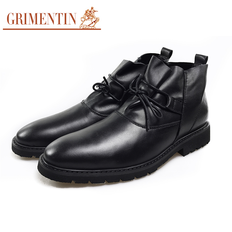 GRIMENTIN Men Ankle Boots Black Lace Up Genuine Leather Fashion Motorcycle Boot Business Casual Shoes new 28 color casual boot genuine leather flats shoes shoelace shoes boot lace shoes strap shoeslaces 500pairs lot via dhl ems