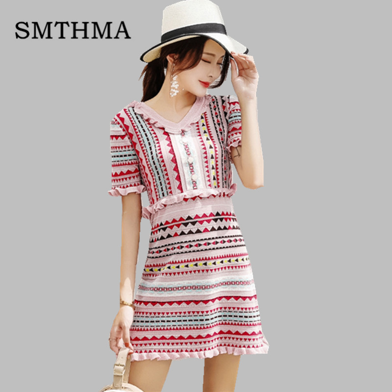 SMTHMA 2019 Summer Autumn Geometric Knitted Short Sleeve Sweet Women Vestidos Ruffled Trim Pink Beautiful Female Dress