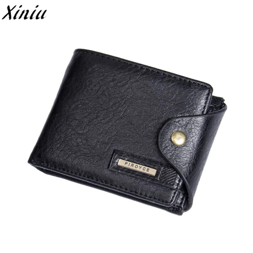 Mens Solid Purse Pure Leather Hasp High Quality Short Wallet Card Holder Billfold Purse Carteiras Masculina #7107