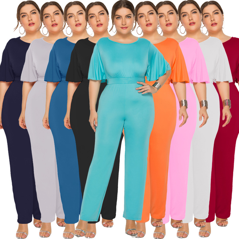 Plus Size Women Short Sleeve O Neck Lace Up Jumpsuits 2019 New Summer Overalls Office Work Solid Casual Loose Long Rompers Femme