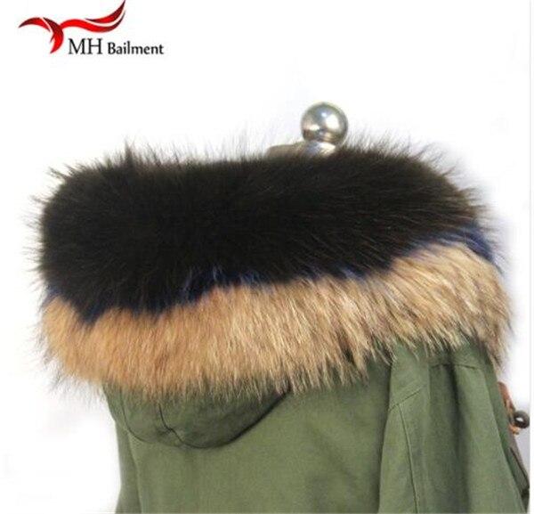 Шарф из натурального меха, пальто с меховым воротником, Женское зимнее пальто, меховые шарфы, роскошный мех енота, настоящий зимний теплый шейный платок - Цвет: G