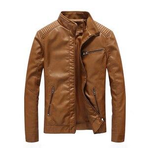 Image 5 - Chaqueta de cuero de poliuretano para hombre, chaqueta ajustada informal para motocicleta, con cuello levantado, envío directo ABZ174