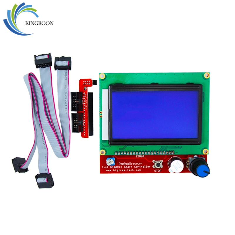 Ramps 1.4 LCD Smart Control Hovedkort RAMPS1.4 Display Monitor Blå skjerm Deler Controller Panel Board Cable 3D Skrivere Del