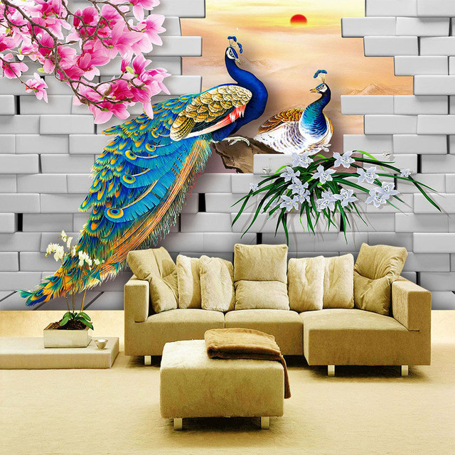 3D Flower Wallpaper Custom Wall Mural Peacock Magnolia Flowers Brick Wall Home  Decor Living Room Bedroom