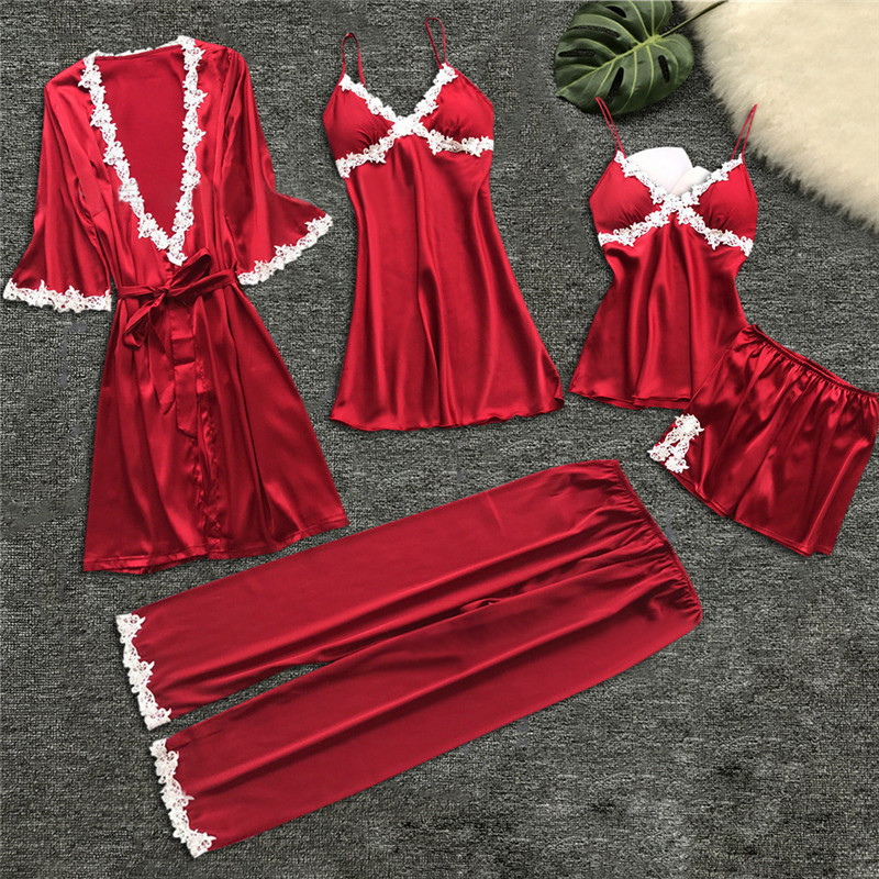 JULY'S SONG 5 Pieces Sexy Lace   Pajama     Set   Satin Sleepwear Women Summer Spring Fashion   Pajamas   for Women Robe Sleep Lounge