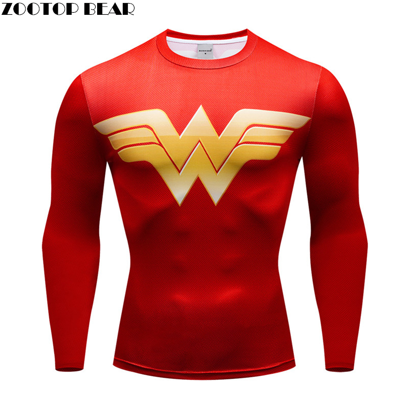 2019 New Men Long Sleeves Running Shirt Men Rashgard Compression Football Jersey Sport Tights Fitness Gym Training Batman TShirt