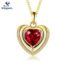 Mother's day necklace birth stone heart shaped love necklace yellow gold plated red color cz pendants women