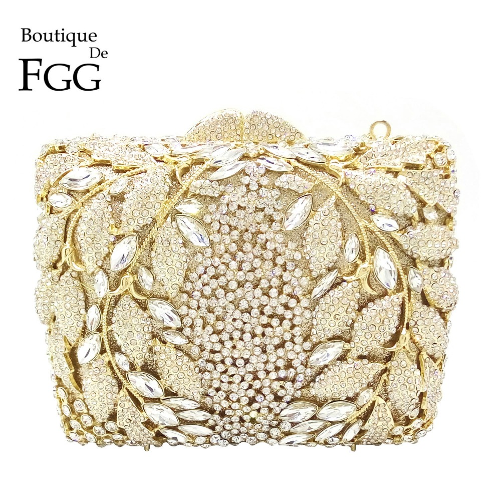Boutique De FGG Hollow Flower Women Gold Crystal Evening Clutch Minaudiere Bag Wedding Party Cocktail Diamond Handbag and Purse analog bte hearing aid deaf sound amplifier s 288 deaf aid with digital processing chip free shipping