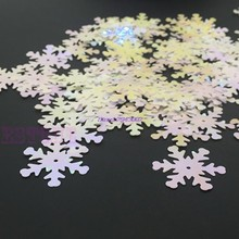 2017 nouveau 100 pcs/lot noël irisé Scrapbooking congelé flocon de neige confettis paillettes carte APR17_40(China)