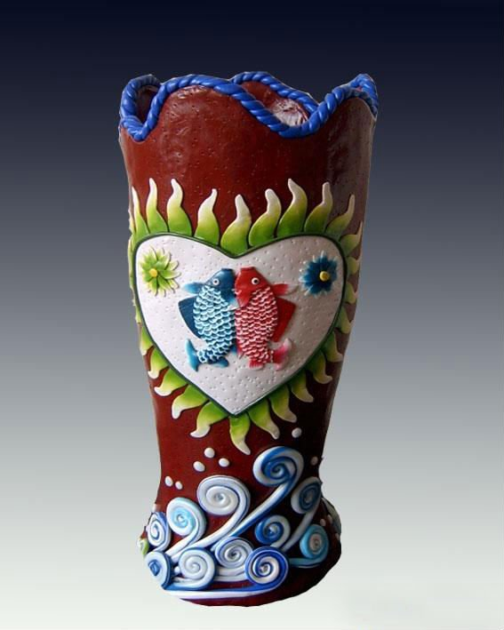 Handmade Polymer Clay Vase For Decoration In Handmade Polymer Clay