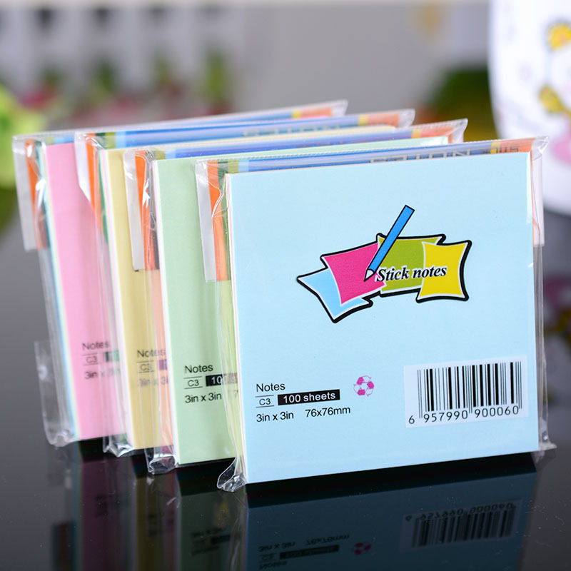 7.6cm*7.6cm Sticker Post It Bookmark Tab Note Pads Sticky Notes 100 Pages