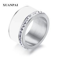 XUANPAI 11mm Chunky Engagement Rings for Women Bling CZ Stones Stainless Steel Elegant Wedding Band Female Anel Jewelry