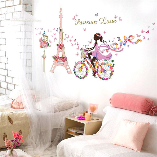 Paris Eiffel Tower Butterfly Fairy Floral Girl Wall Sticker For Kids Rooms  Wall Art Decal Wedding Decoration Mural Poster