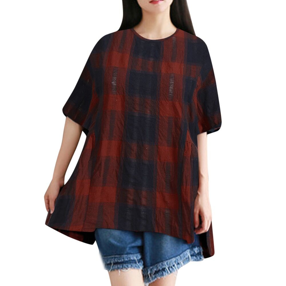 2018 Para rojo Corea Top Camisas Y Larga Túnica Harajuku Damas Mujeres De Moda Ropa Blusas Caqui Tops Plaid Manga FR1q1