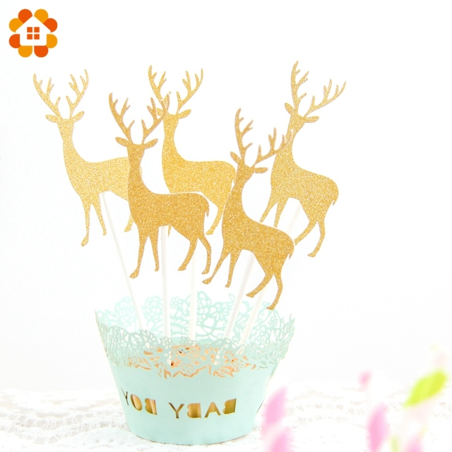 20PCS Reindeer Christmas Cupcake Toppers Cake Topper Picks For Home ...