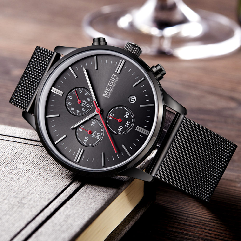 MEGIR hommes de montres à quartz en acier inoxydable bande de maille noir montre chronographe mince sangle mens montre top marque relogio masculino
