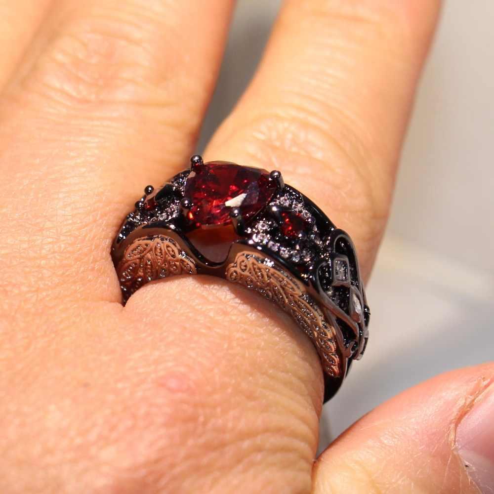 Vecalon sexy legal lovers anel espumante jóias branco & preto ouro cheio vermelho 5a forma do coração cz anel de dedo banda de casamento feminino