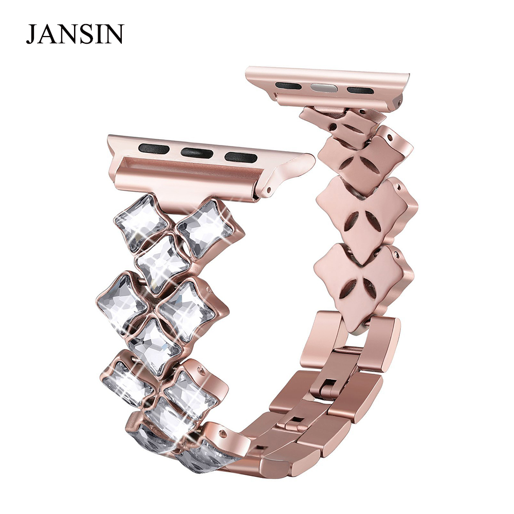 JANSIN women Jewelry Bands for Apple Watch band 38mm 42mm 40mm 44mm diamond Stainless Steel strap iWatch bracelet Series 4 3 2 1 20 colors sport band for apple watch band 44mm 40mm 38mm 42mm replacement watch strap for iwatch bands series 4 3 2 1