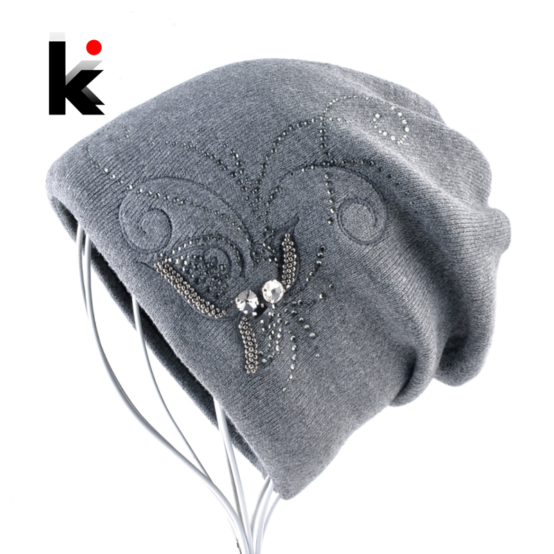 Women's Winter Knitted Wool   Beanie   Ladies Elegant Embroidery Jewelry Hats For Women Warm Knitting   Skullies     Beanies   Female Bonnet