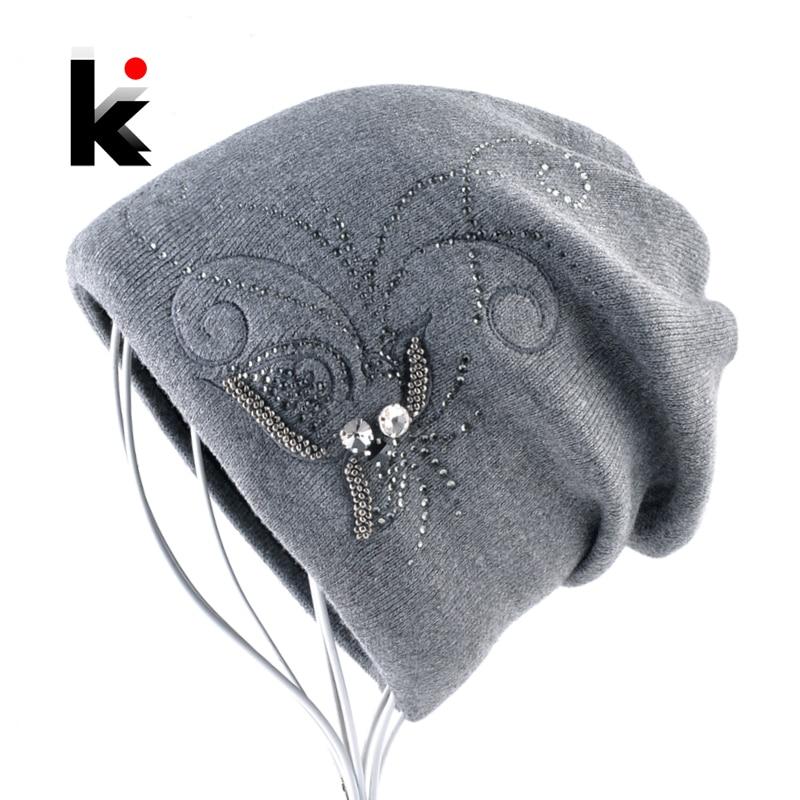 Women's Winter Knitted Wool   Beanie   Ladies Elegant Embroidery Jewelry Hats For Women Warm Knitting   Skullies     Beanies   Female Bonnet