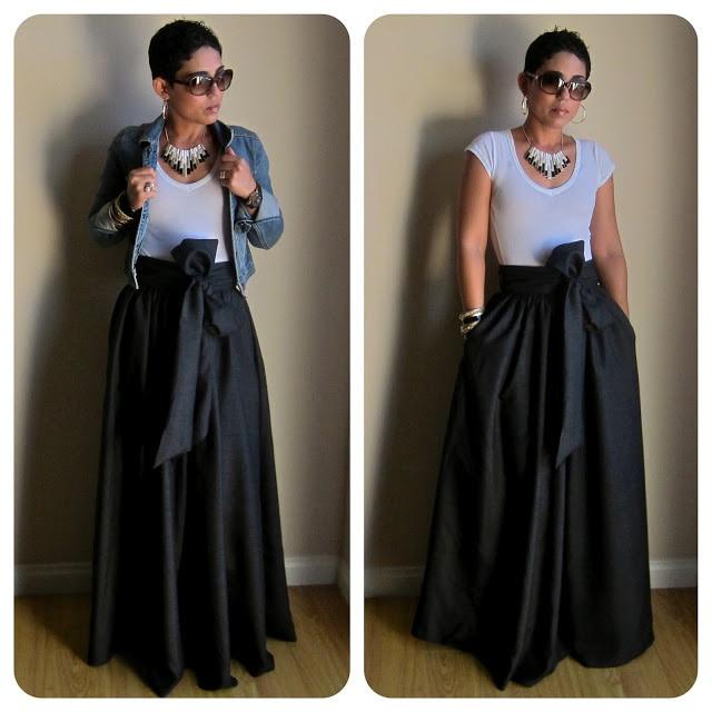 WBCTW Vintage must kollane tahke puuvillane vöörihm Maxi seelikud - Naiste riided