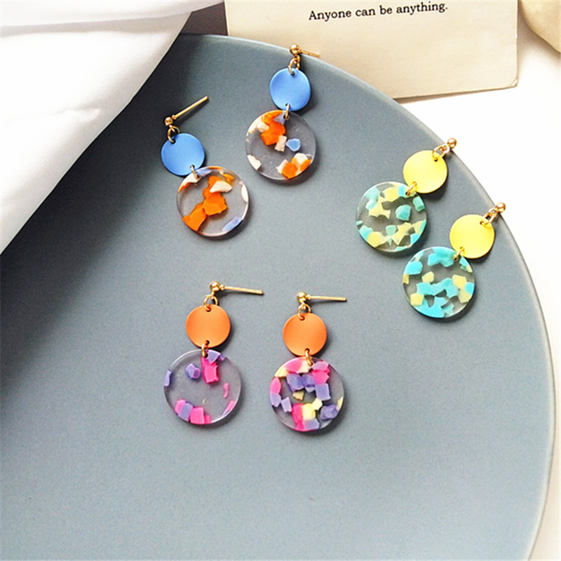 New Asymmetrical Wafer metal Earrings Women Fashion Korean Temperament Earring Long Personality Ear Jewelry Exquisite Earrings in Drop Earrings from Jewelry Accessories