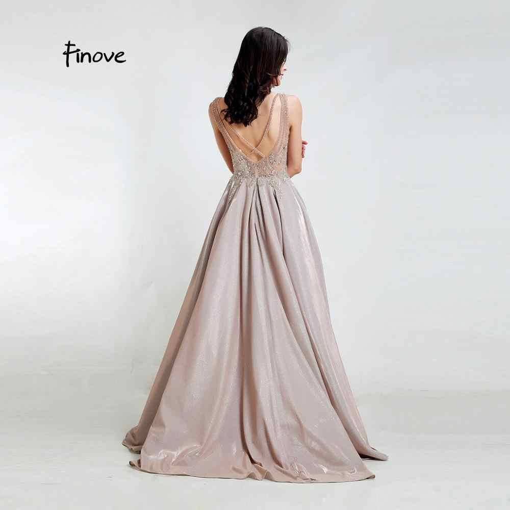 فستان سهرة جديد من Finove موضة 2020 مثير بياقة على شكل V فستان عاكس مطرز بالخرز كريستال ترتر طويل طول A Line في فساتين نسائية مقاس كبير