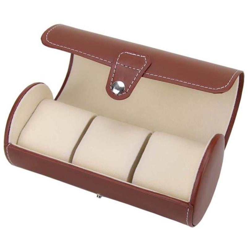 bowaiwen 0066 high quality Portable Travel Watch Case Roll 3 Slot Wristwatch Box Storage Travel Pouch