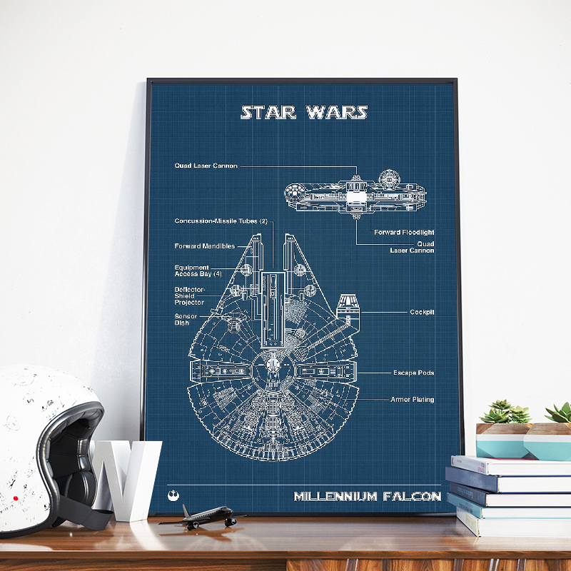 Millennium Falcon Poster Print Star Wars Blueprint Drawing Wall Art Canvas Painting Wall Pictures Boys Room Decor Gift Him