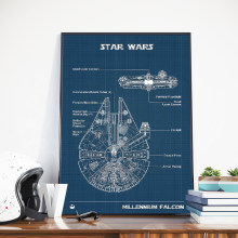 Millennium Falcon Poster Print Star Wars Blueprint Drawing Wall Art Canvas Painting Wall Pictures Boys Room Decor Gift Him(China)