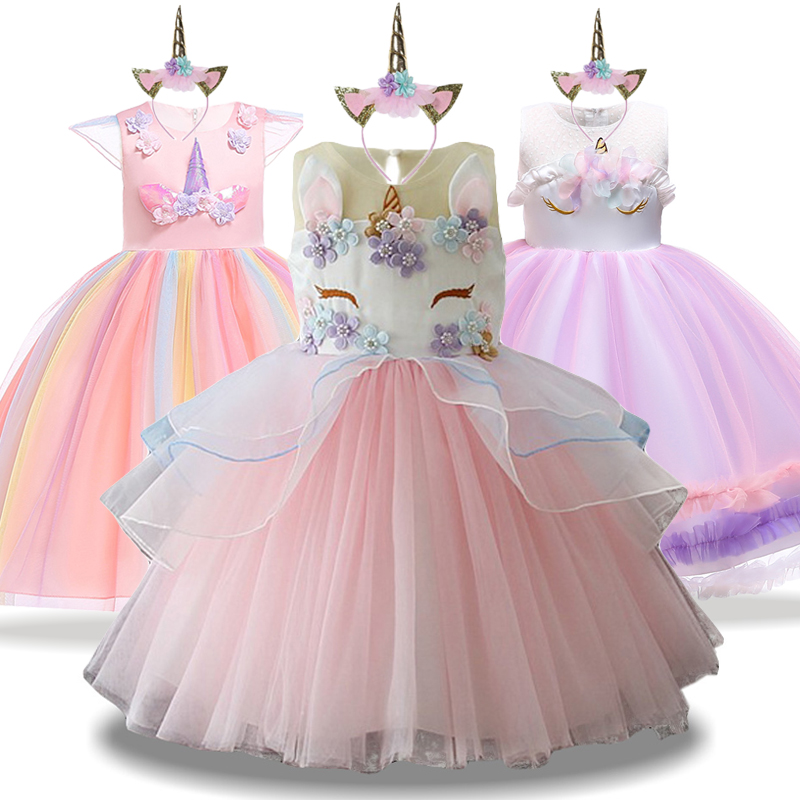 Unicorn Dresses for Girl Party Dress Christmas Carnival New Year Costume Kids Party Dresses For Girls Evening Birthday Dresses in Dresses from Mother Kids