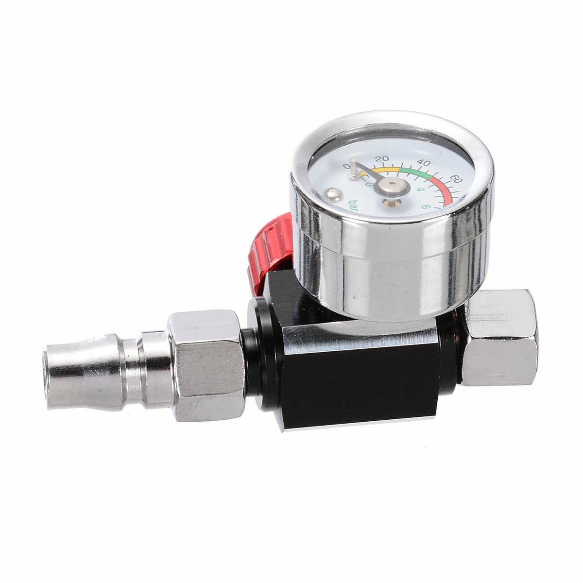 "1//4/"" Metal Pressure Gauge Mini Air Regulator Valve Tool  w// Nozzle For Spray Gun"