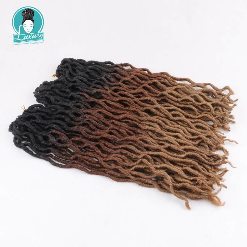 Luxuryfor trança ombre falso locs encaracolado 20 polegada 24 raízes tranças crochê macio pavor cigano locs extensões de cabelo