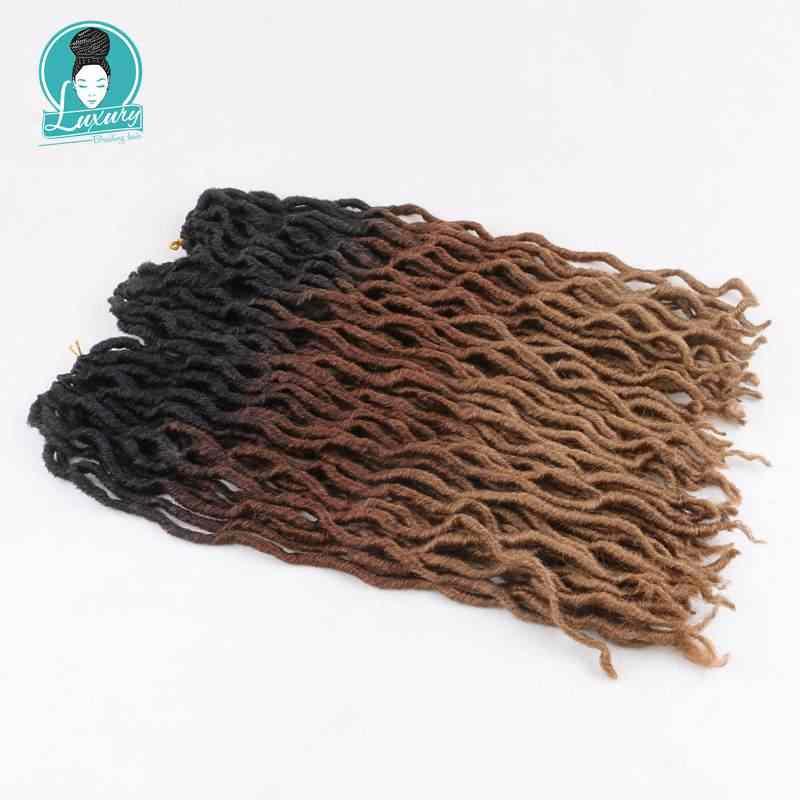 LuxuryFor trenza Ombre Faux Locs rizado 20 pulgadas 24 raíces suaves Crochet trenzas Dread Bohemian Gypsy Locs extensiones de cabello