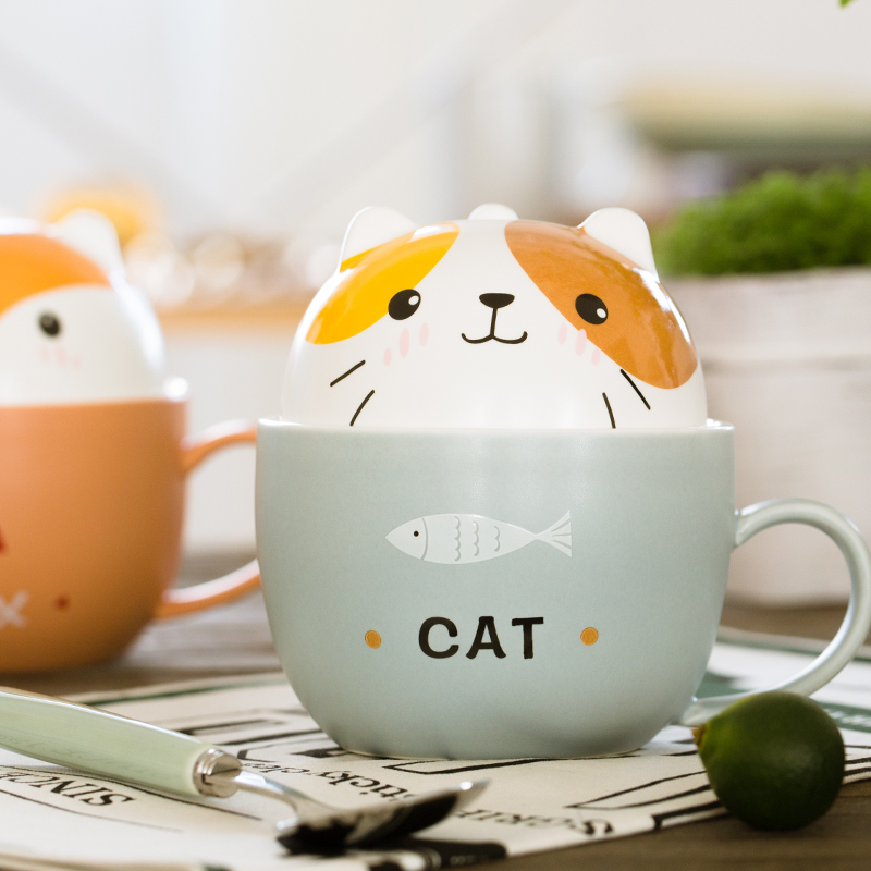 <font><b>Lovely</b></font> breakfast Cat and fish coffee <font><b>cup</b></font> , Bear Pig Fox Dog Ceramic tea Mug <font><b>cup</b></font> milk mug