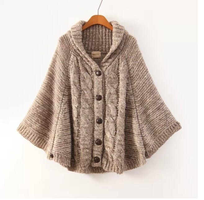 Pluse Size Maxi Knitting Design Poncho Sweater Womens Autumn