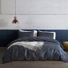 Classic Plaid Bedding Set King Size Polyester Cotton Pillowcase Duvet Cover Set Pastoral Bedclothes Bedroom Decor Home Textile