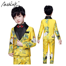 ActhInK 2019 High Quality 2pcs Boys Wedding Blazer Suit Suits Teen Ceremony Costume Kids Golden