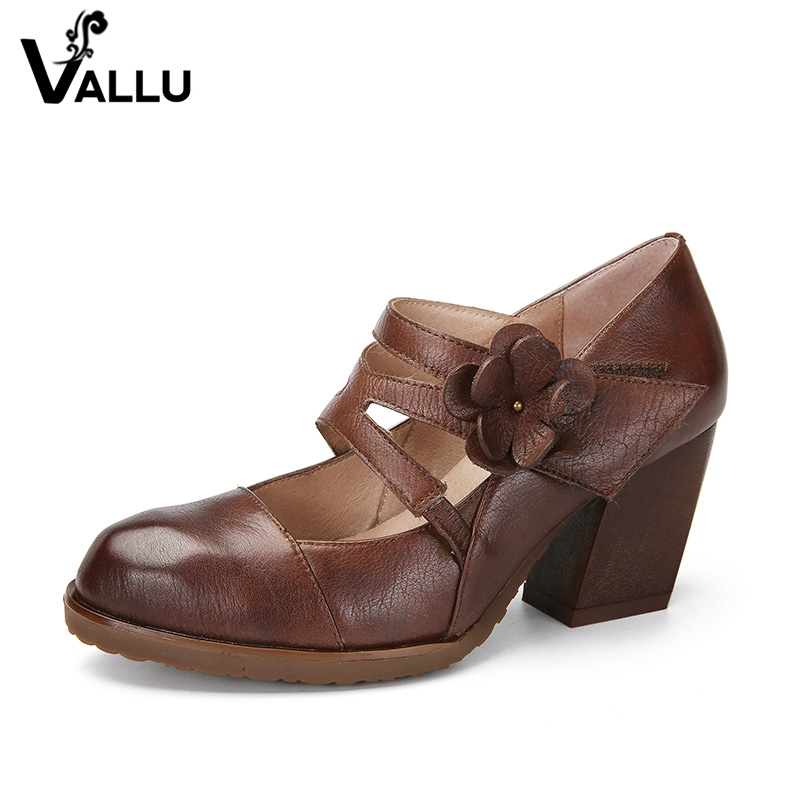 2018 VALLU Spring New Arrival Women High Heel Shoes Genuine Leather Platform Handmade Flower Vintage Retro Women Pumps new spring genuine leather women pumps platform wedges round toes embroider back zip high heel handmade women shoes